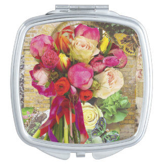 Vibrant Spring Flowers Compact Mirror