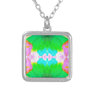 Vibrant Spring Pastels Abstract Floral Pattern Square Pendant Necklace