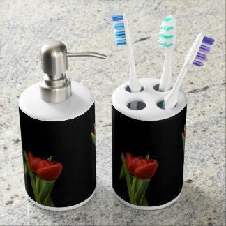 Vibrant Stylish Tulips Red On Black Bathroom Bath Accessory Sets