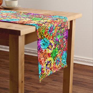 Vibrant Summer Colors Paint Splatter Pattern Medium Table Runner