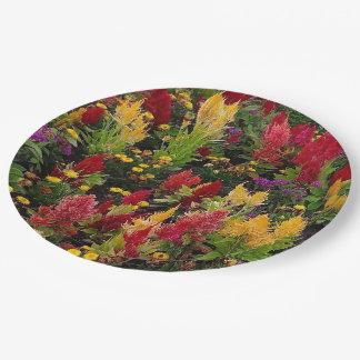 Vibrant Summer Flower Garden in Orlando Florida 9 Inch Paper Plate