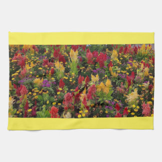Vibrant Summer Flower Garden in Orlando Florida Tea Towels