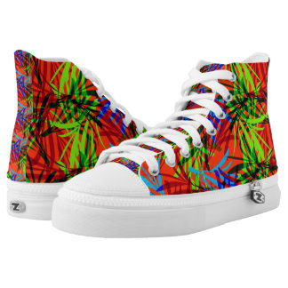 Vibrant Summery Tropical Leafy Print Printed Shoes