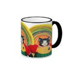Vibrant sun cat doll mug