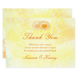 Vibrant Sunflowers Thank You Cards 9 Cm X 13 Cm Invitation Card