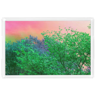 Vibrant Surrealism Neon Colors Tree Tops
