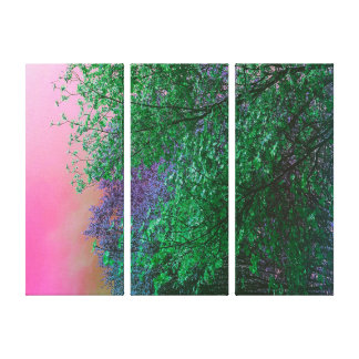 Vibrant Surrealism Neon Colors Tree Tops Canvas Print