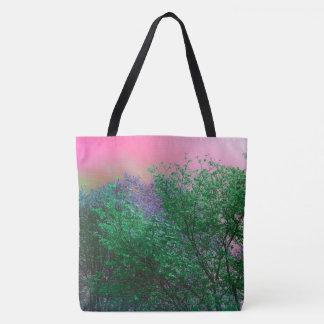 Vibrant Surrealism Neon Colors Tree Tops Tote Bag
