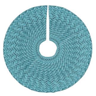 Vibrant Teal Basket Weave Circle Geometric Pattern Brushed Polyester Tree Skirt