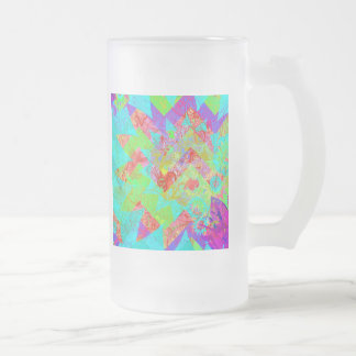 Vibrant Teal Blue Abstract Girly Collage Print Frosted Glass Beer Mug