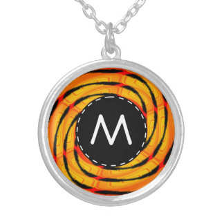 Vibrant tigerlike abstract round pendant necklace