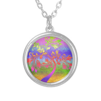 Vibrant tree silver plated necklace