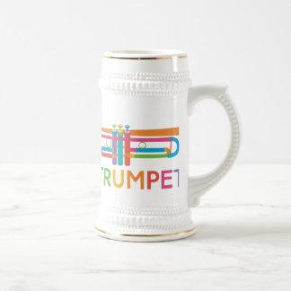 Vibrant Trumpet in Rainbow Colors Beer Stein