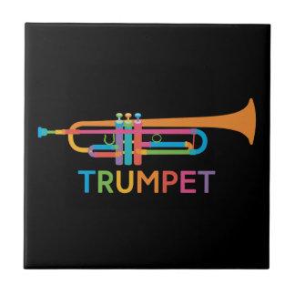 Vibrant Trumpet in Rainbow Colors Ceramic Tile