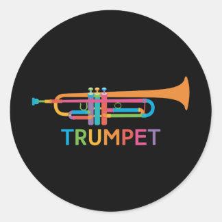 Vibrant Trumpet in Rainbow Colors Classic Round Sticker