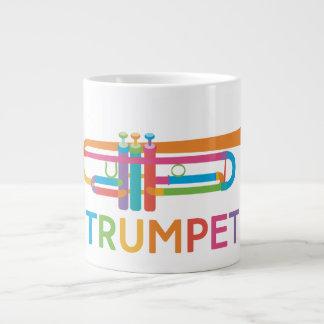 Vibrant Trumpet in Rainbow Colors Large Coffee Mug