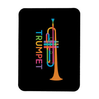 Vibrant Trumpet in Rainbow Colors Magnet