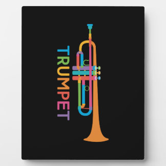 Vibrant Trumpet in Rainbow Colors Plaque