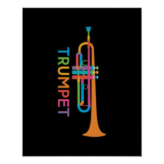 Vibrant Trumpet in Rainbow Colors Poster