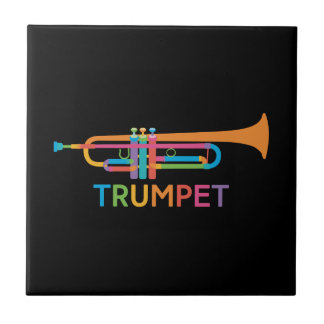 Vibrant Trumpet in Rainbow Colors Tile