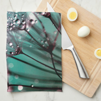 Vibrant Turquoise and Black Wet Dandelions Tea Towel