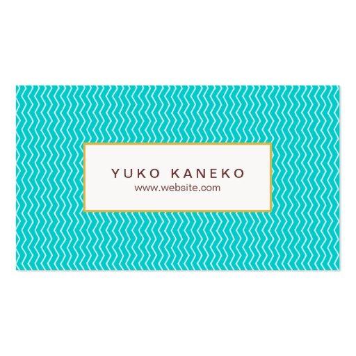 Vibrant Turquoise Blue Chevron Pattern Trendy Fun Business Cards