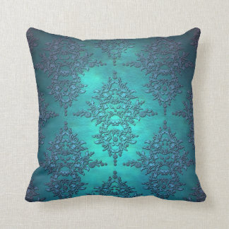 Vibrant Turquoise Damask Pattern Throw Pillow