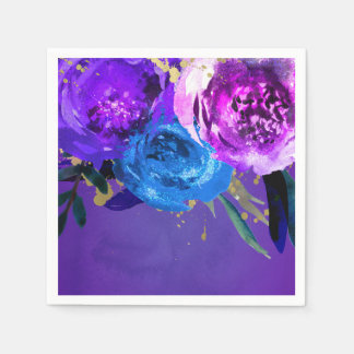 Vibrant Ultra Violet Purple Floral Fantasy Wedding Disposable Napkins