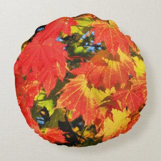 """Vibrant Vine Maple Cotton Round Throw Pillow (16"""")"""