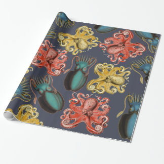 Vibrant Vintage Sea Creatures Octopus Squid Wrapping Paper
