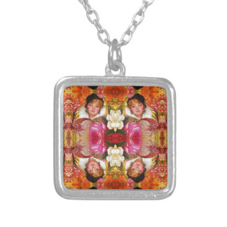 Vibrant Vintage Woman Abstract Square Pendant Necklace