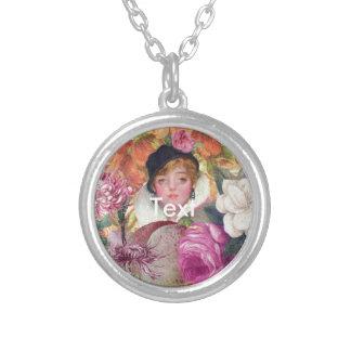 Vibrant Vintage Woman Flower Garden Round Pendant Necklace