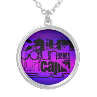 Vibrant Violet Blue and Magenta Round Pendant Necklace