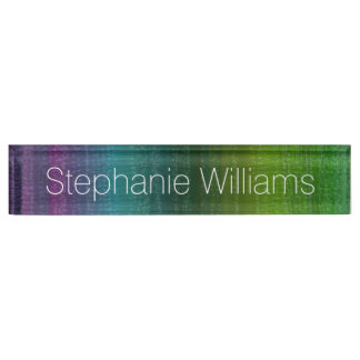 Vibrant Watercolor Abstract Stripes Custom Name Nameplate