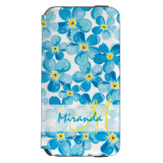 Vibrant watercolor blue forget me not flowers name incipio watson™ iPhone 6 wallet case