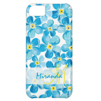 Vibrant watercolor blue forget me not flowers name iPhone 5C case