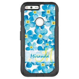 Vibrant watercolor blue forget me not flowers name OtterBox commuter google pixel XL case
