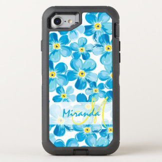 Vibrant watercolor blue forget me not flowers name OtterBox defender iPhone 8/7 case