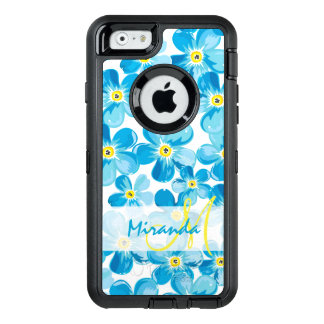 Vibrant watercolor blue forget me not flowers name OtterBox defender iPhone case