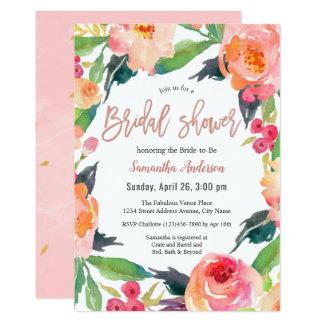 Vibrant Watercolor Floral Bridal Shower Card