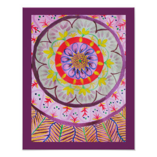 Vibrant watercolor mandala design with ethnic vibe poster