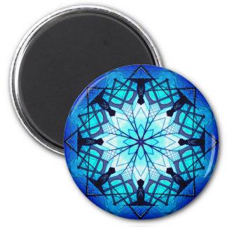 Vibrant Winter Stars Mandala 6 Cm Round Magnet