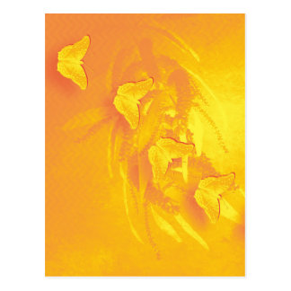 Vibrant yellow butterflies vertical postcard