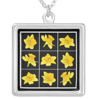 Vibrant Yellow Daffodil Flowers on Black Square Pendant Necklace