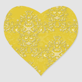 Vibrant Yellow Floral Damask Pattern Heart Sticker