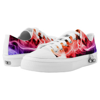 Vibrant Yellow Orange Purple Abstract Smoke Printed Shoes