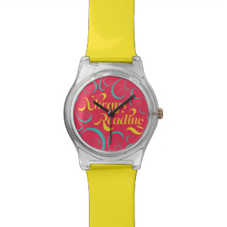 Vibrant Yellow, Pink Bookish Always Reading Watch