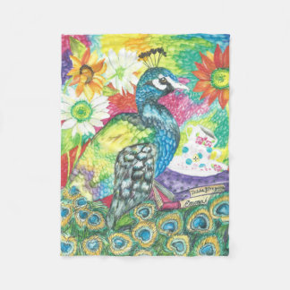 Vibrantly Colored Peacock Fleece Blanket