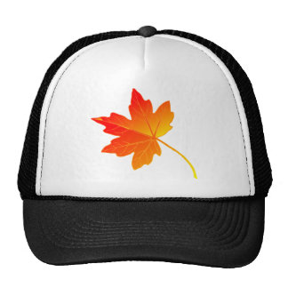 Vibrantly Colorful Orange Autumn/Fall Maple Leaf Trucker Hats