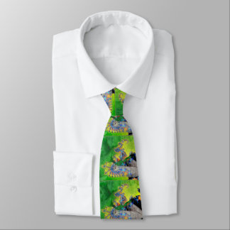 VIBRATIONS OF MATTER,FRACTAL WOMAN IN GREEN YELLOW TIE
